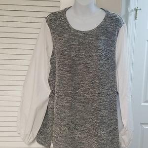 Lane bryant pretty gray and white top